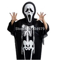 F981PC Halloween Costume Cosplay Skeleton Skull Ghost Dress Clothes Free Shipping