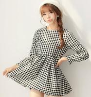 Free shipping Fashion Preppy Style Empire PLAID DRAWSTRING Double POCKETS DRESS drop shipping 8112#