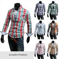 2014 Spring Brand New High quality 50% Cotton men's shirts Classic Plaid Casual shirts 6030