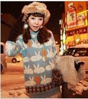 9502# Han Guochao lovely rabbit eating carrot pattern Pullover Sweater