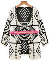 2014 New Designer Autumn Fashion Knitwear Sweater Women Clothing Casual Apricot Long Sleeve Geometric Print Cardigan