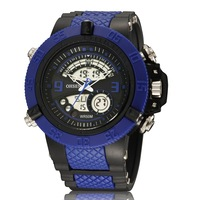 2014 New ohsen brand digital sport watch silicone band 30M waterproof Blue fashion black army wristwatch relojes for gift