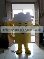 New arrival 2014 Adult cartoon lovely yellow beer cup mascot costume fancy dress party costume adult size