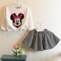 Retail new arrival girls autumn fashion cartoon Minnie suit kids long sleeve top+Houndstooth skirt 177