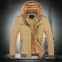 Free Shipping 2014 New Men Jacket plus velvet thickening Fluffy Top quality Armygreen/khaki M-XXL Wholesale&Retail