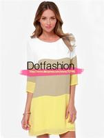 Vestidos 2015 Women Summer Dress Fashion Female Clothing Casual Brand Desigual White Khaki Yellow Color Block Straight Dress