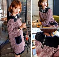 2014 new autumn and winter Korean socialite splicing hit color pocket plaid major design dress