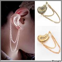 Vintage Retro Leaf ear cuff  Long chains Gothic Punk rock clip earrings earcuff clips on earrings Jewelry