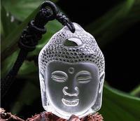 Hot Sale Natural Crystal White Buddha Head Pendant Woman Fashion pendant wholesale price + free rope