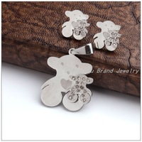 New Hot Fashion Style Jewelry Sets 316L Stainless Steel Silver Two Lovely Bear Pendants Necklaces&Stud Earrings For Women/Girl