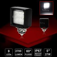 """2X 4.5"""" Car Epistar led driving light 27W Flood Beam ATV UTV 12V/24V LED fog light Boat lamp 9x3W off-road work lighting Truck"""