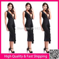 Black Women Long Dress Deep V Sexy Party Club Dress Vestidos Bodycon Summer Dress Slim Pencil Casual Dress Free Shipping