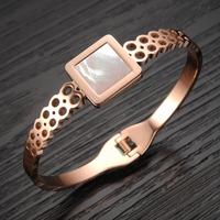 New Arrival Elegant Rose Gold Plated Women Bangle Wristband Bracelet Square Shell Cuff Bling Lady Gift Bracelets & Bangles GH737
