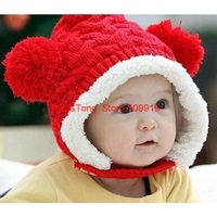 Factory Promotion 2014 Fashion New Children Winter Hat Double Ball Baby Velvet Ear Cap Beanie Baby Wool Hat XHM-017