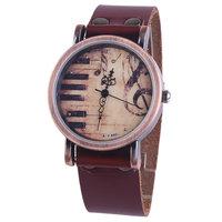 New Brand Hign Quality Piano Music Note Quartz Watch Women Brown Genuine Leather Strap Vintage Women Wristwatches