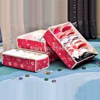 4Pcs/set Valley home Folding storage box case underwear bra socks towel ,classified storage bags ,Organizer case box Free Ship