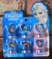 6 pcs cartoon anime princess anna & elsa frozen stamp set diy scrapbooking craft stamps with ink pad school supplies