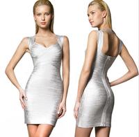 Gold Silver Bodycon Bandage Dress Evening Party Dress Elegant 2014 New Fashion Women Sexy Deep V-Neck Dresses