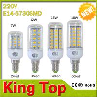 New arrival E14 7w /12w/15w/18w  led corn lamp 24leds 36leds 48leds 56leds bulbs for indoor lighting lampada led 1PCS