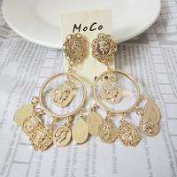 European fashion Baroque classic metal human head earring DG show women vintage studs earring multi coin studs earring free