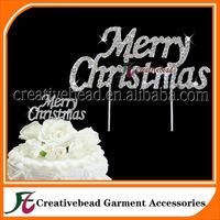 Free Shipping Diamante Rhinestone Merry Christmas Cake Topper Picks, Cake Accessory, Cake Jewelry, Christmas Decorations