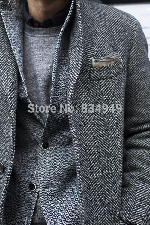 CUSTOM MADE Tweed Sport Coat Blazer Jacket, BESPOKE Tailored Mens Tweed Jacket(China (Mainland))