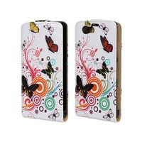 Vertical PU Flower Design For Sony Xperia Z1 Mini 1pcs Free Shipping