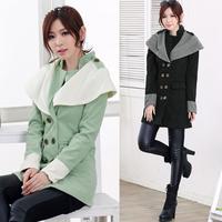 Women's Big Lapel Wool Coat,Top Quality Winter Long Contrast Color Woolen Overcoat Epaulette Women Double Breasted Outerwear