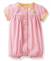 wholesale new arrival Carter's baby girl pink striped short sleeve snap-up creeper, carter's baby summer clohtes, free shipping