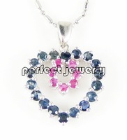 Sapphire pendant Free shipping Natural real sapphire ruby 925 sterling silver plate 18k white gold Fine jewelry #14100803