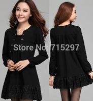 2014fashion women loose slim lace faux two new design elegant dress big  plus size spring autumn dress patchwork elegant Q125