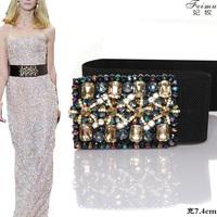 feimu luxury accessories crystal elastic girdle female models in Europe and America big fashion wide belt decorated inlaid rhine