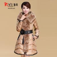 2013 winter rex rabbit luxury large fur collar slim elegant belt female medium-long down coat