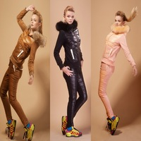 Blessedly high quality casual sheepskin fur collar slim sports set down coat female
