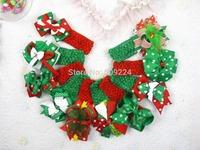 lot10 baby girl christmas holiday headbands hair bows Children crochet headbands