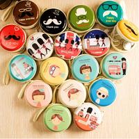 Free shipping 6pcs/lot Hot sales 2014 small lovely circular zipper wallet/coin purse women cartoon earphone earphone storage box