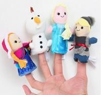 4pcs Velvet  frozen Finger  Puppet Play Learn Story Toy Cute Cartoon Finger Puppets set toy Sale Finger do;;