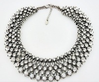 European and American big exaggeration short clavicle collar necklace inlaid rhinestones