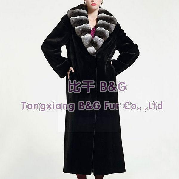 BG23874 Extravagant Furs 2014 Real Integral Sheared Mink Fur Women Coats With Chinchilla Collar Coats(China (Mainland))