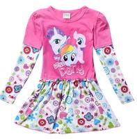 New girls cartoon my little pony long sleeve dress kids lovely princess printing dresses children's leisure cotton dress