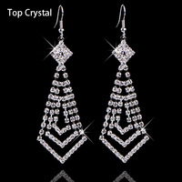 Jewellery Shops Top Quality Selling Fashion Flower Double Channel Drop Silver Crystal Earrings For Women Bridal Jewelry 2014 M11