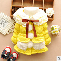 New arrival 2014 girls thick coat kids clothing girl winter fashion lace coats 3 colors free shipping