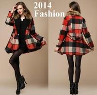 2014 Winter Fashion Women's Woolen Coat Overcoat Outerwear Plus Size Wool Cloak Long Trench Fox Fur Collar Female Free Shipping
