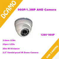 Free Shipping! 1.4MP 720P AHD Camera HD Analog High Definition Vandalproof dome Camera  with 23pcs IR LEDs 20m IR Distance