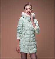 2014 New Arrive Women's Winter Outerwear Slim Hooded Down Jacket Woman Warm Down Coat Women Light White Duck Down HJS144002