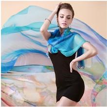 Modèles Femme georgette longue écharpe multicolores modèles minces simples plaine solides foulards en mousseline de soie couleur écharpe gros(China (Mainland))