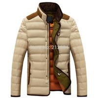 Free Shipping 2014 New Fashion Men's Winter Clothing Medium-Long Large Male Down Coat Thickening Fur Collar Down Wear Jacket