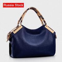3-5 Days delivered to Russian Women Vintage Handbag Crocodile Pattern Genuine PU Leather Bag Women Messenger Shoulder Bags