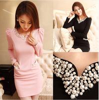 New arrival 2014 Spring Autumn Winter dress, women Diamond V-Neck long sleeve casual dress, fashion dresses women black and pink