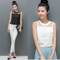 New 2014 Hot  Spring Summer Brand Casual Women's Chiffon Blouse Turn-down Collar Fashion Sleeveless Female Shirt  Tops A27